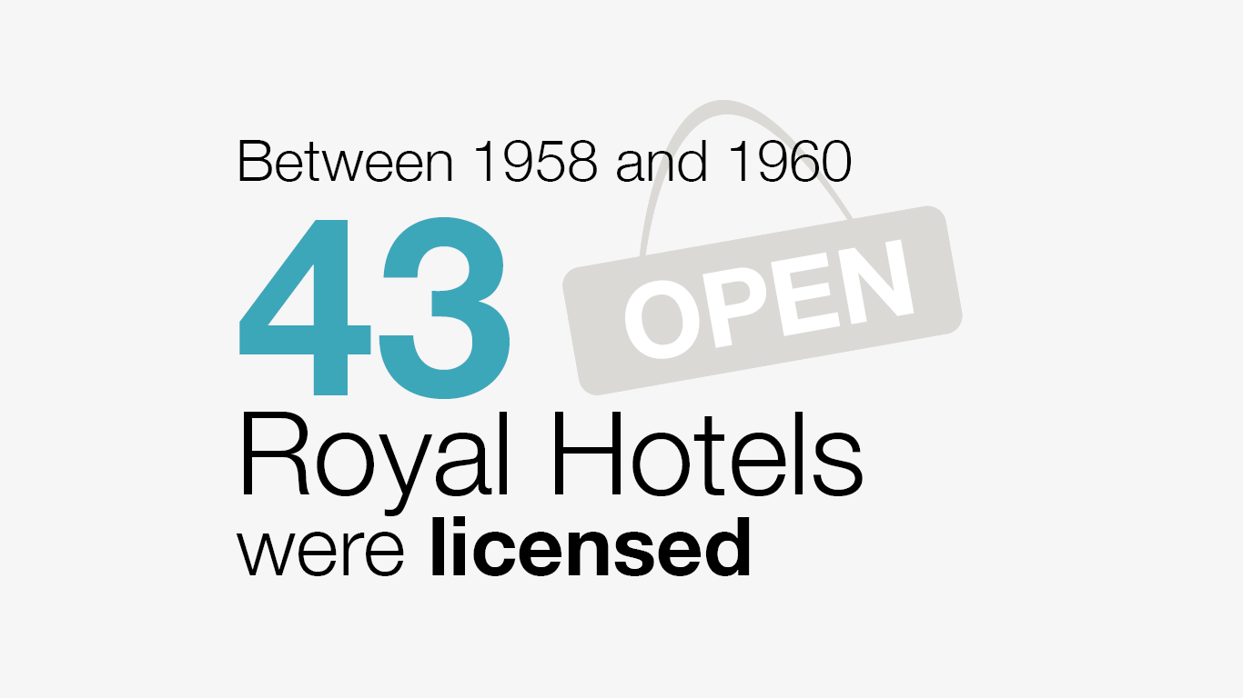 Between 1958 and 1960 43 Royal Hotels were licensed