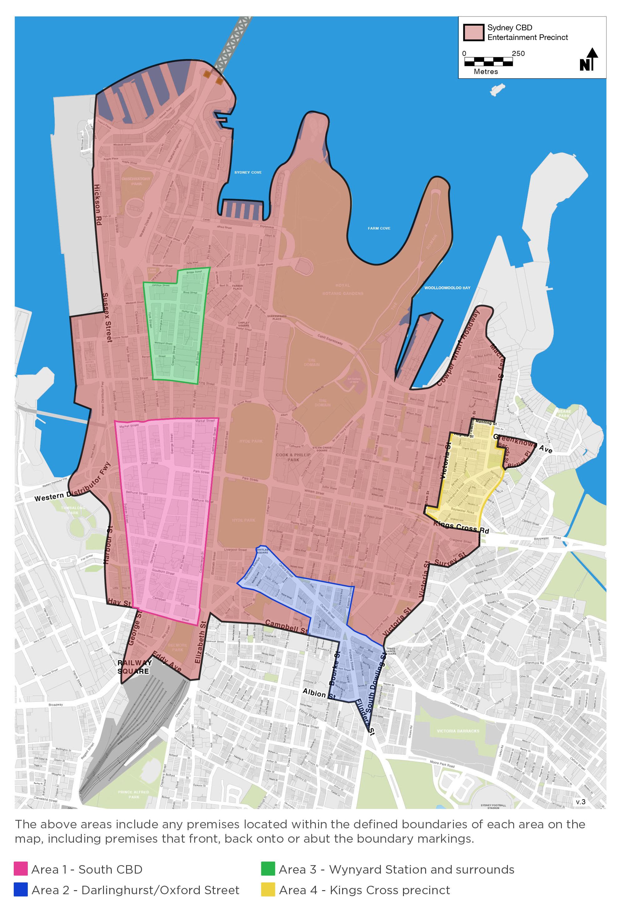 Map of four designated cumulative impact areas in the precincts